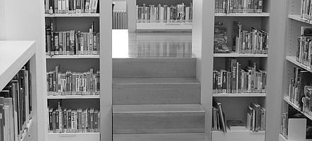 Blick auf Bücherregale