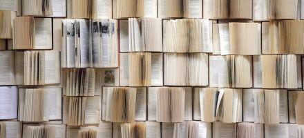 Viele übereinander liegende aufgeschlagene Bücher